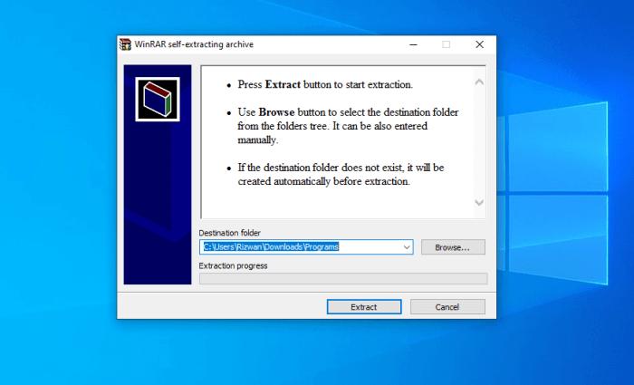 Installation - Extract the program files
