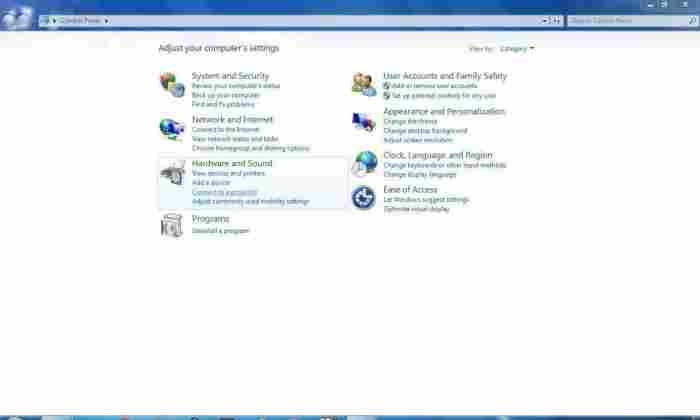 Windows 7 Control Panel