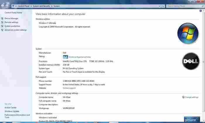 Windows 7 Properties screenshot