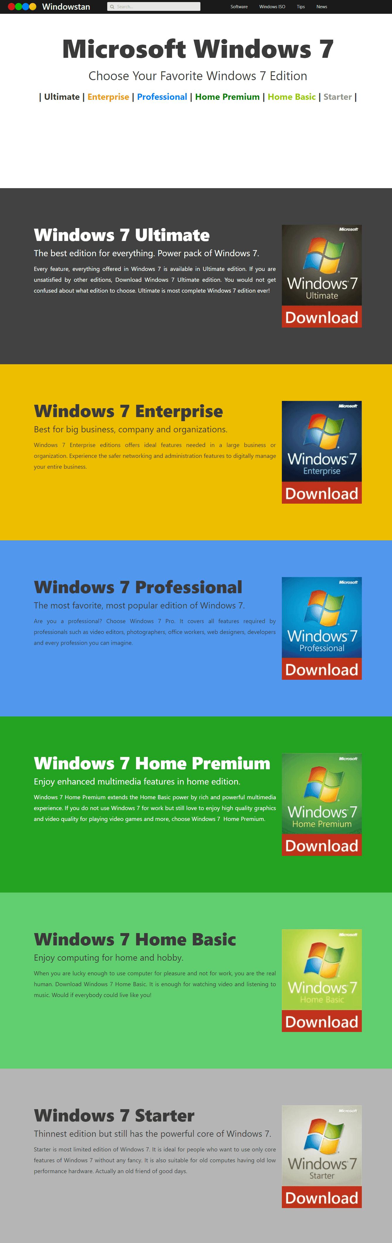 Windows 7 Editions compare