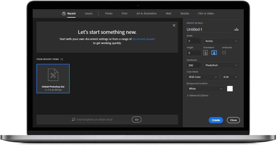 Adobe Photoshop CC 2019 new document screen - Windowstan