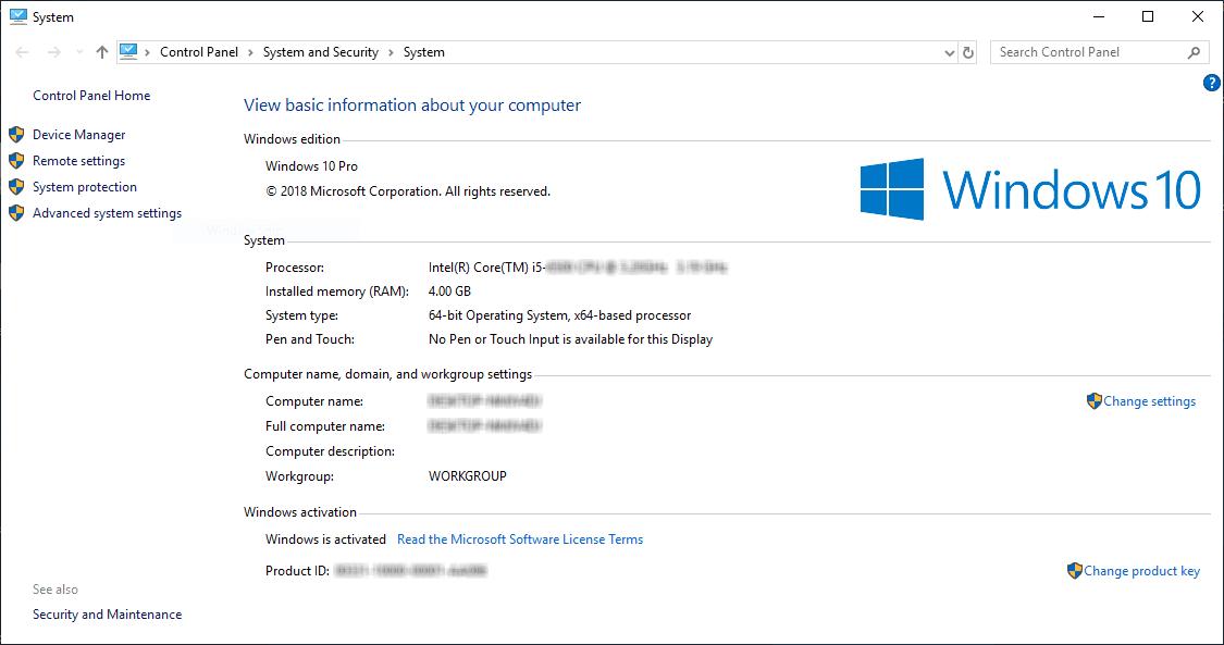 Windows 10 Pro 64 bit properties - Windowstan