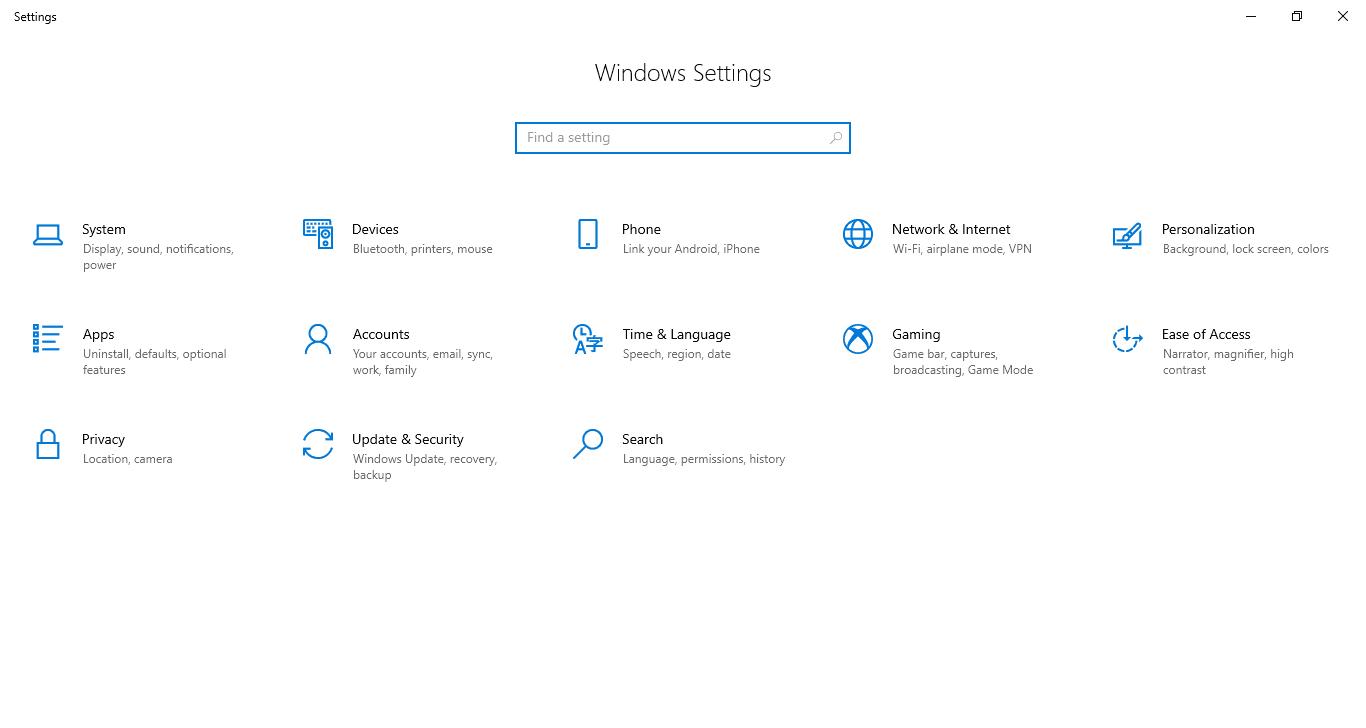 Windows Settings Panel - Windowstan