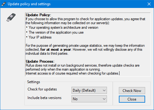Rufus update policy and settings