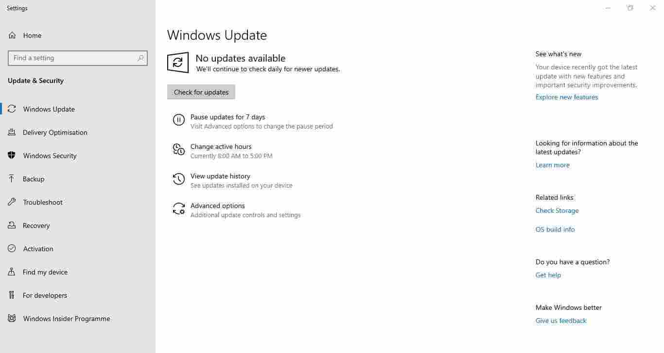 Check for Windows 10 updates