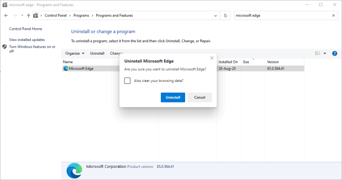5-confirm uninstall Edge with browsing data