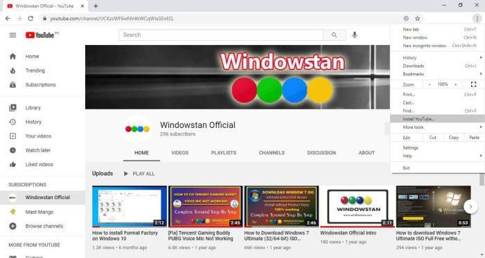 YouTube PWA for Windows Edge and Chrome