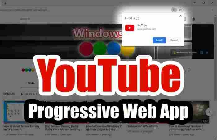 YouTube Progressive Web App for Windows 10